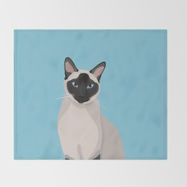 The Regal Siamese Cat Throw Blanket