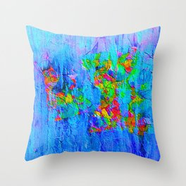Blue Wash Jazzy Abstract Throw Pillow