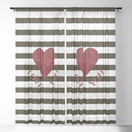 LOVE YOU Valentine print. Red glitter heart and black stripes congratulation card Sheer Curtain