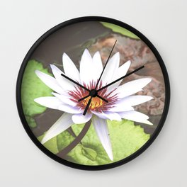 White Water Lily Photography Wall Clock