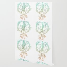 Desert Cactus Dreamcatcher Turquoise Coral Gradient on White Wallpaper