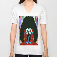 twins V-neck T-shirts featuring Twins by Christa Bethune Smith