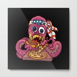 American octopus eating pizza us bandana kraken Metal Print