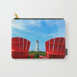 Lighthouse and chairs in Red White and Blue Carry-All Pouch