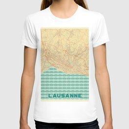 Lausanne Map Retro T-shirt