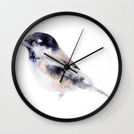 Watercolor Coal Tit Painting Wall Clock