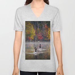 Two Canada Geese swimming in Fall Unisex V-Neck