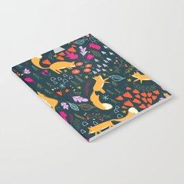Fox Autumn Print - Dark Notebook