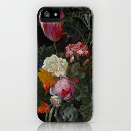 "Maria van Oosterwijck ""Roses, a parrot tulip, carnations, ears of wheat, hyacinths and other flowers iPhone Case"