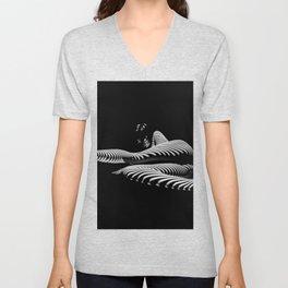 8428-KMA BW Art Nude Abstract Zebra Stripe Woman Long Legs Unisex V-Neck