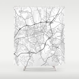 Athens Map, USA - Black and White Shower Curtain