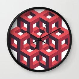Red Pentagon Column Cluster  Wall Clock