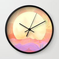 sunrise Wall Clocks featuring Sunrise by Okti