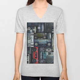 Vintage wall full of radio boombox of the 80s Unisex V-Neck