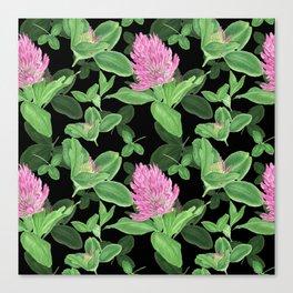Pink clover on black background Canvas Print