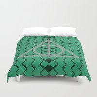 slytherin Duvet Covers featuring The Deathly Hallows- Slytherin by cinefuck