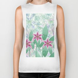 Hand painted pink green watercolor tropical floral Biker Tank
