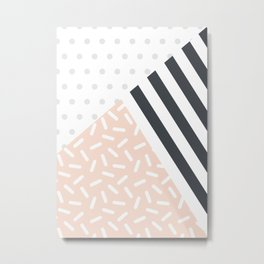 Random Geo - Dots Dashes and Stripes Metal Print
