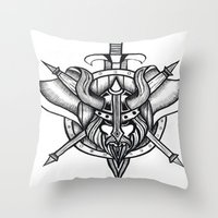 viking Throw Pillows featuring Viking by Liz Guhl @lizaguhl