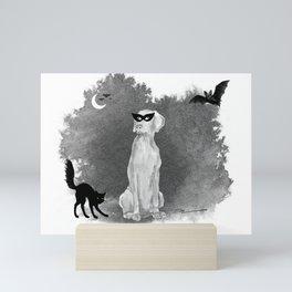 HOOOOOOWLOWEEN WEIMARANER Mini Art Print