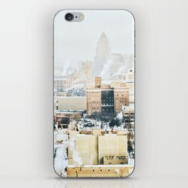 New Center, Midtown Downtown Detroit Skyline in the Winter iPhone Skin