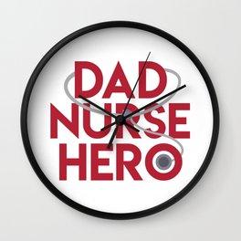 Dad Nurse Hero With Stethoscope 1 Wall Clock