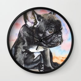 French Bulldog Puppy Watercolor | Pillow Cover | Dogs | Home Decor | Custom Dog Pillow | Dog Mom Wall Clock