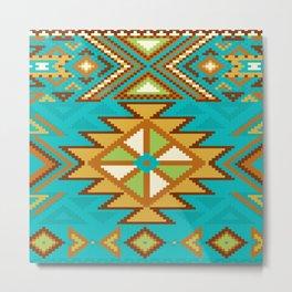 Native Aztec Tribal Turquoise Rug Pattern Metal Print