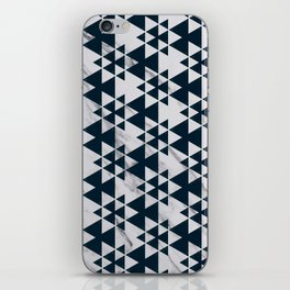 Southwestern Triangle Design over White Grey Marble iPhone Skin