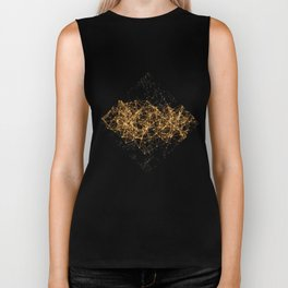 Shiny golden dots connected lines on black Biker Tank