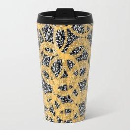 Abstract Beehive Yellow & Black Pattern Travel Mug