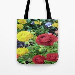 Ranunculus and Violas Tote Bag