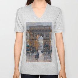 Arc de Triomphe, Paris, France by Eugene Galien Laloue Unisex V-Neck
