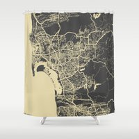 san diego Shower Curtains featuring San Diego Map by Map Map Maps