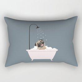Laughing Pug Enjoying Bubble Bath Rectangular Pillow