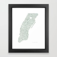 Map Manhattan NYC watercolor map Framed Art Print