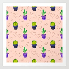 Stylish Cacti with Hearts Art Print
