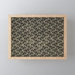 17th century Allover pattern of small black flowers on silve textile Pattern. American finest decora Framed Mini Art Print