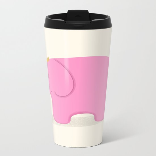 Queen Pink Elephant Metal Travel Mug