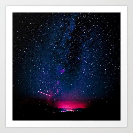 Electric Desert Starry Night Art Print