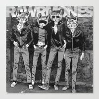 ramones Canvas Prints featuring RAWRMONES by Gimetzco's Damaged Goods