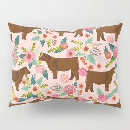 Red Angus cattle breed floral farm homestead gifts cow pattern Pillow Sham