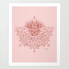 Sacred Lotus Mandala – Rose Gold & Blush Palette Art Print