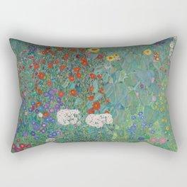 Gustav Klimt - Exhibition Art Poster - Cottage Garden With Sunflowers - Belvedere Museum Rectangular Pillow
