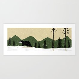 Badger in the Snow Art Print