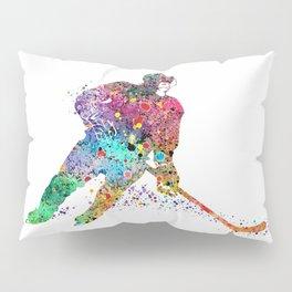 Girl Ice Hockey Sports Art Print Pillow Sham