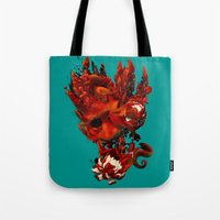 karma Tote Bags featuring Karma by angrymonk