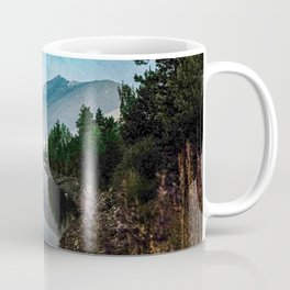 Grainy Nighttime Tones // Lake View Fuzzy Lens Photograph Beautiful Landscape with Mountains Coffee Mug