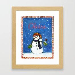 Cheers Red Bird Snowman Framed Art Print