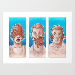3 Wise Octopuses Art Print